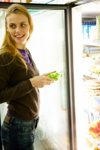 woman random chat grocery store