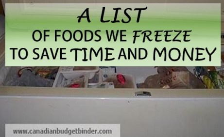 a list of foods we freeze
