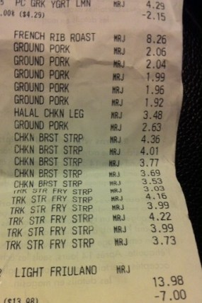 meat savings receipt