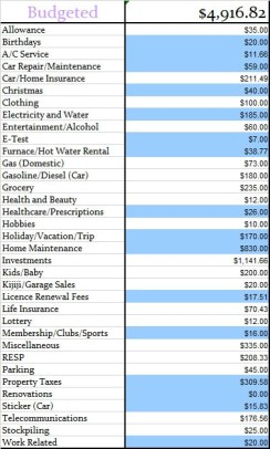 June 2015 Budgeted amount for the month