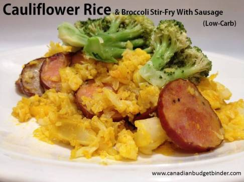 cauliflower rice and broccoli stir fry with sausage 4(1)