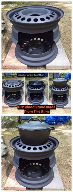 diy stove made from tire rims(1)