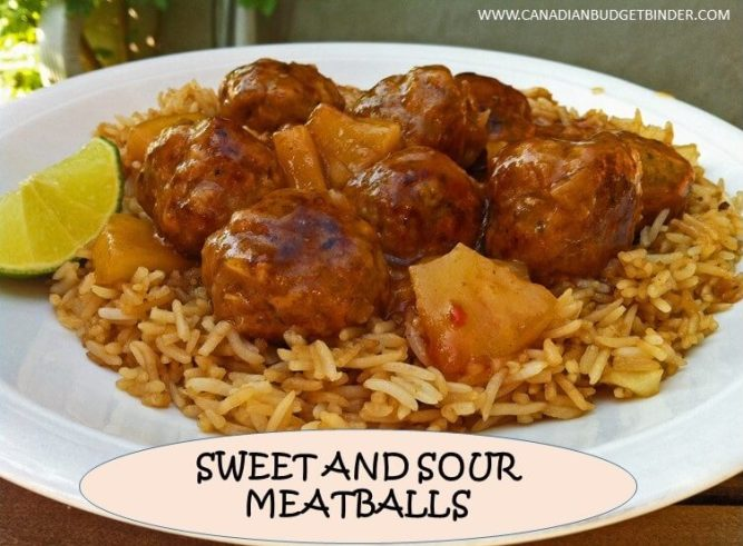 sweet and sour meatballs over garlic rice