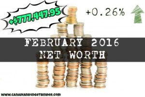How To Grow A Positive Net Worth While You're Young : February 2016 Net Worth Update (+0.26%)