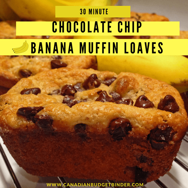 30 Minute Banana Chocolate Chip Muffins (Mini-loaf) - Canadian Budget ...