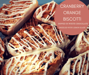 Cranberry Orange Biscotti Dipped In White Chocolate Drizzled With Lemon Glaze