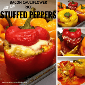 Quick Bacon Cauliflower Rice Stuffed Peppers (Low Carb)