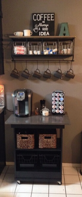 coffee bar made from old microwave cart
