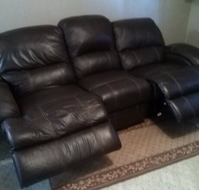 leather recliner sofa open