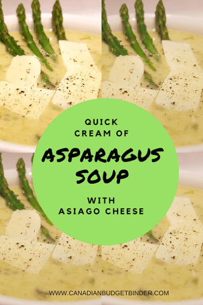 quick cream of asparagus and asiago cheese soup pinterest