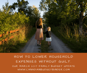 How To Lower Household Expenses Without Guilt : Our March 2017 Budget Update