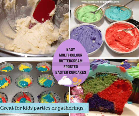easy multi-colourbuttercream frosted easter cupcakes 5