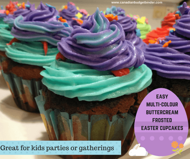 easy multi-colour buttercream frosted easter cupcakes fb1