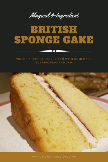 4 ingredient british sponge cake Pinterest