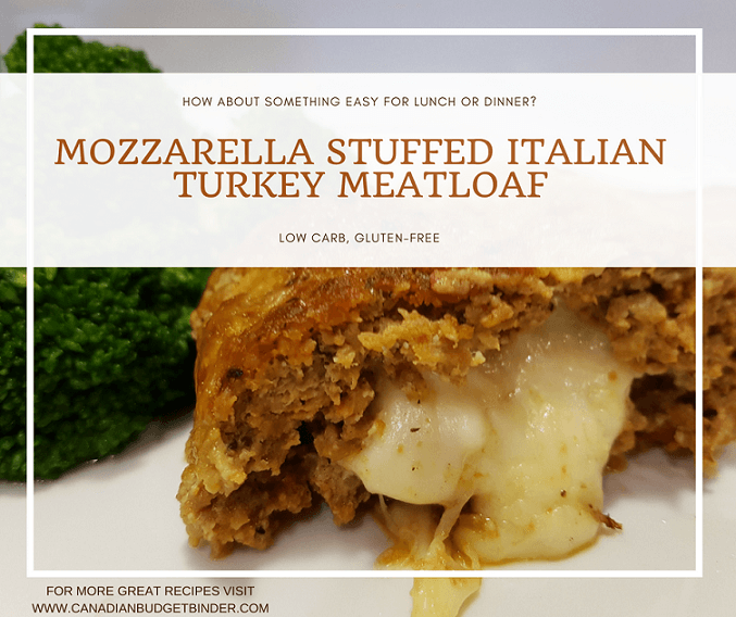 Mozzarella Stuffed Italian Turkey Meatloaf  (Low Carb)
