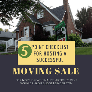 moving sale CHECKLIST