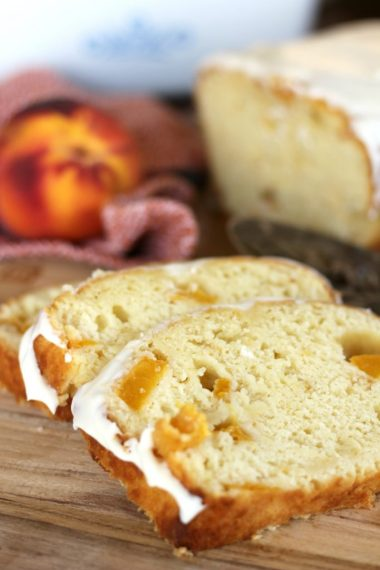 peaches and cream bread with icing