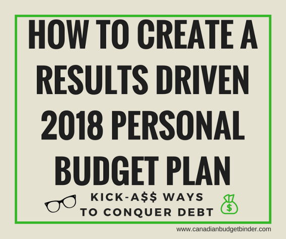 results driven personal budget plan
