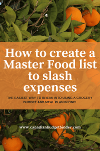 How To Create A Master Food List To Slash Expenses : The Grocery Game Challenge 2018 #2 Jan 8-14