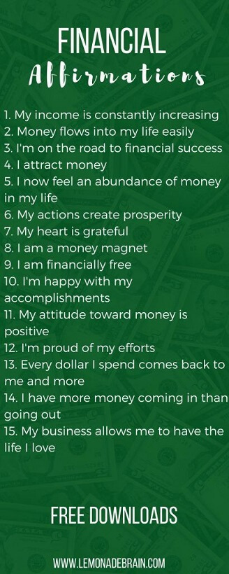 financial affirmations positive self talk