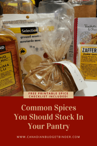 free printable checklist common spices for your pantry