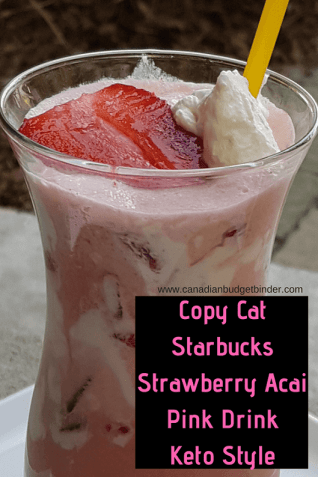 copy cat starbucks strawberry acai pink drink keto style