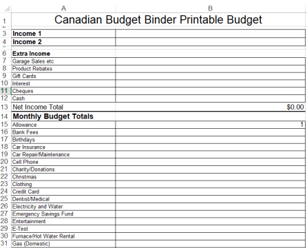 canadian budget binder basic budget snap shot