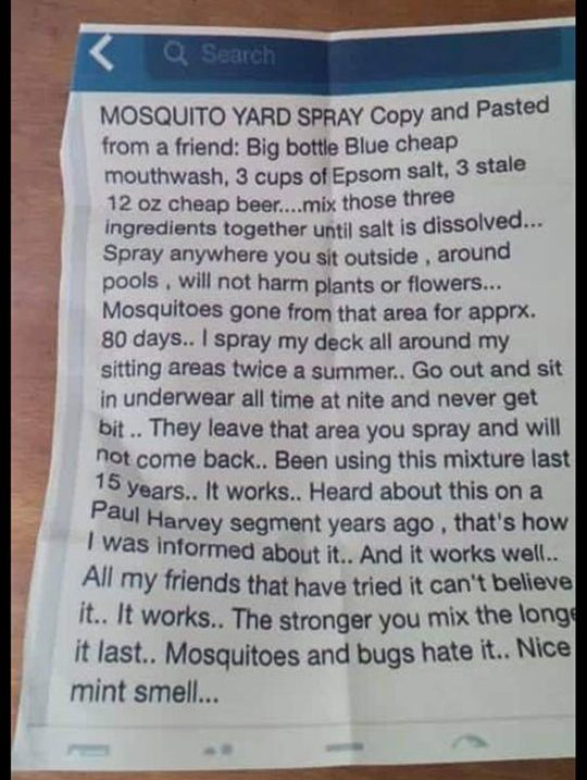 mosquito yard spray recipe