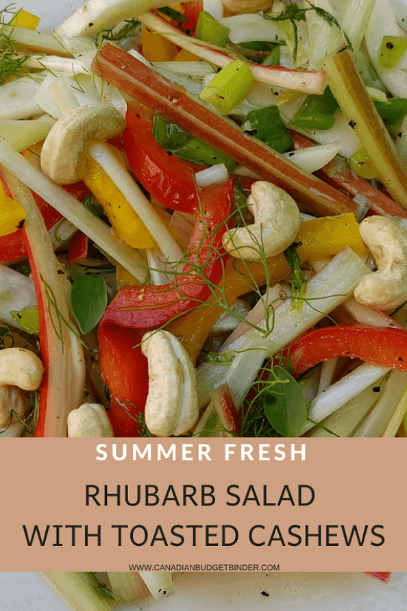 Summer Fresh Rhubarb Salad with toasted cashews