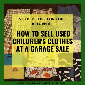 how to sell used children's clothing at a garage sale