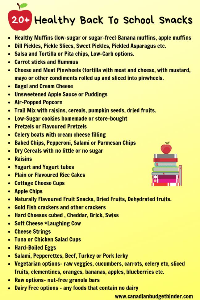 20 healthy back to school snacks list