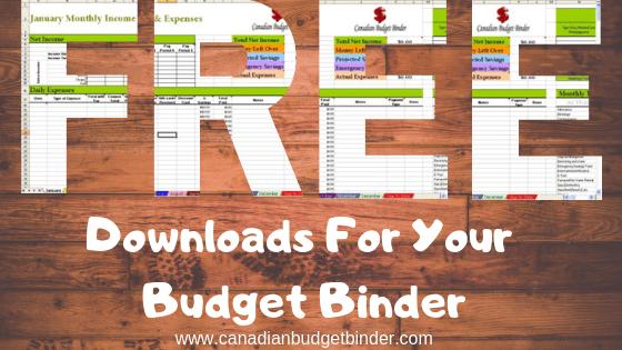 Free Downloads-Money Saving Budgeting Tools - Canadian
