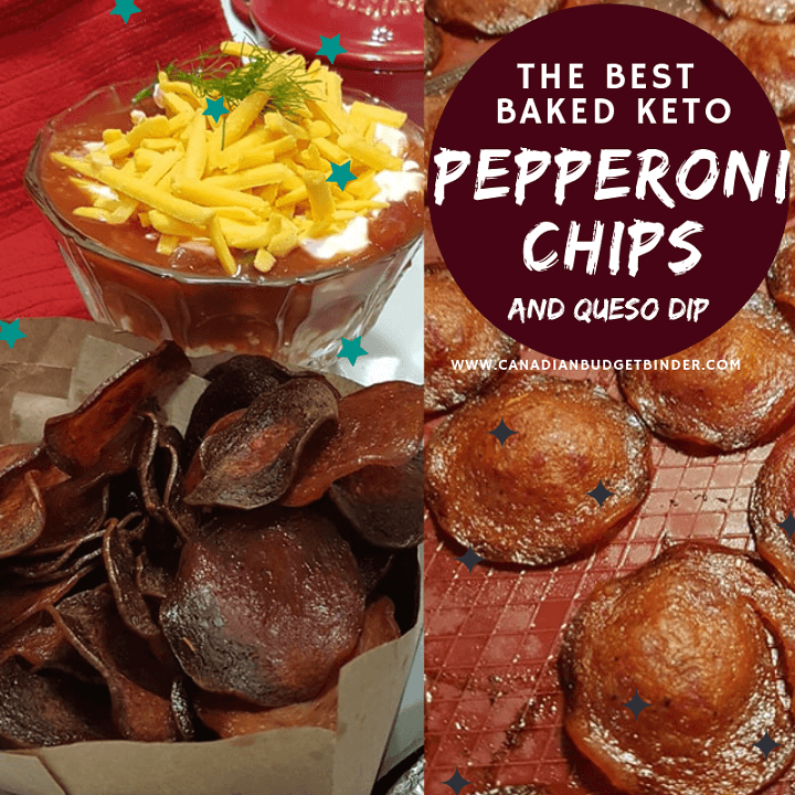 The best baked keto pepperoni chips and queso dip