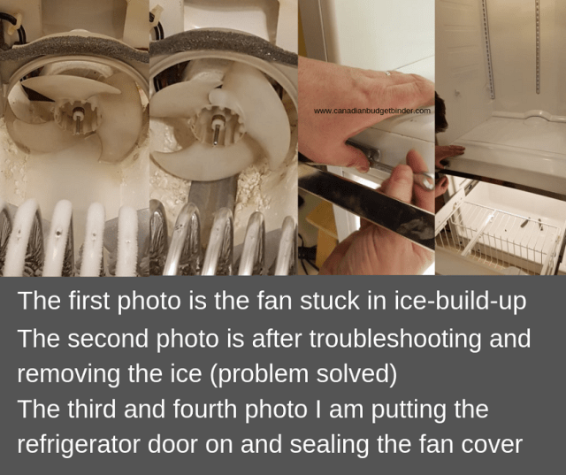 removing ice buildup around the refrigerator freezer fan