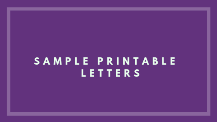 sample printable letters