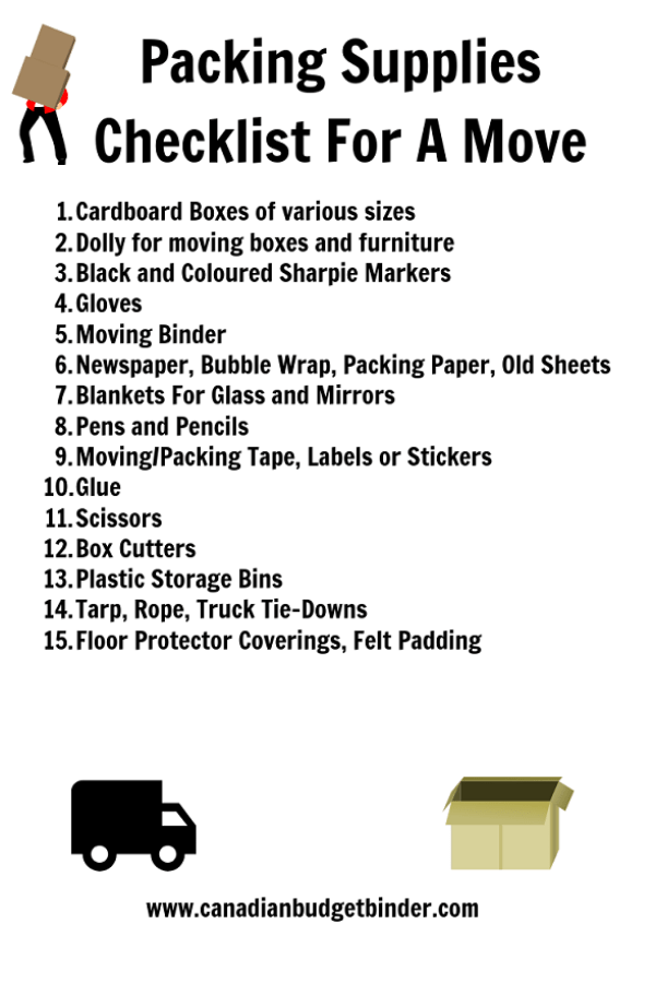 packing supplies checklist for a move
