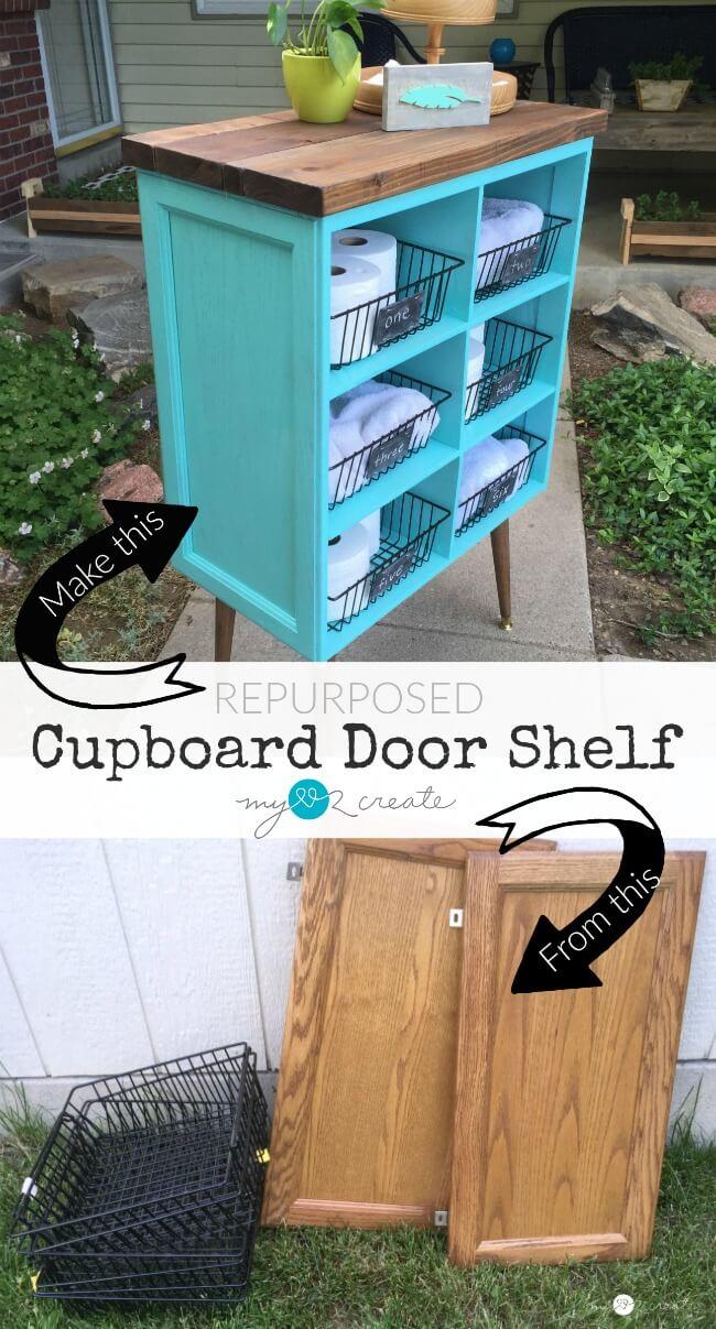 repurposed cabinet door shelf