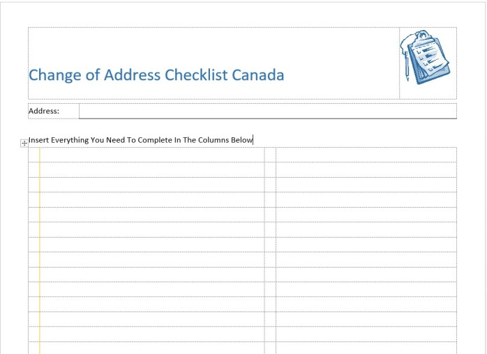 screenshot printable change of address checklist