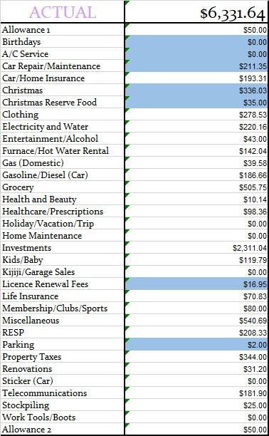 November 2019 Actual Monthly Budget