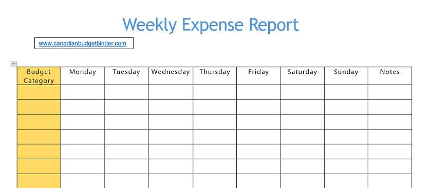 weekly expense budget