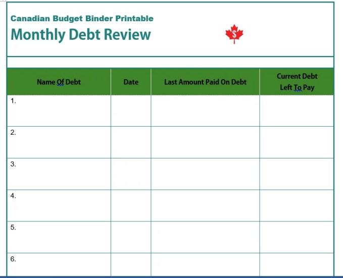 Debt Review Printable