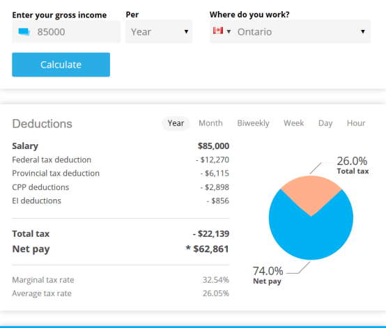 income tax calculator Canada