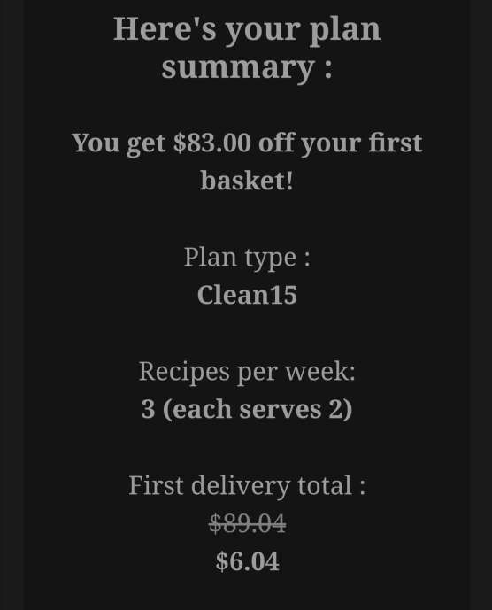 Cost GoodFood Meal Kit