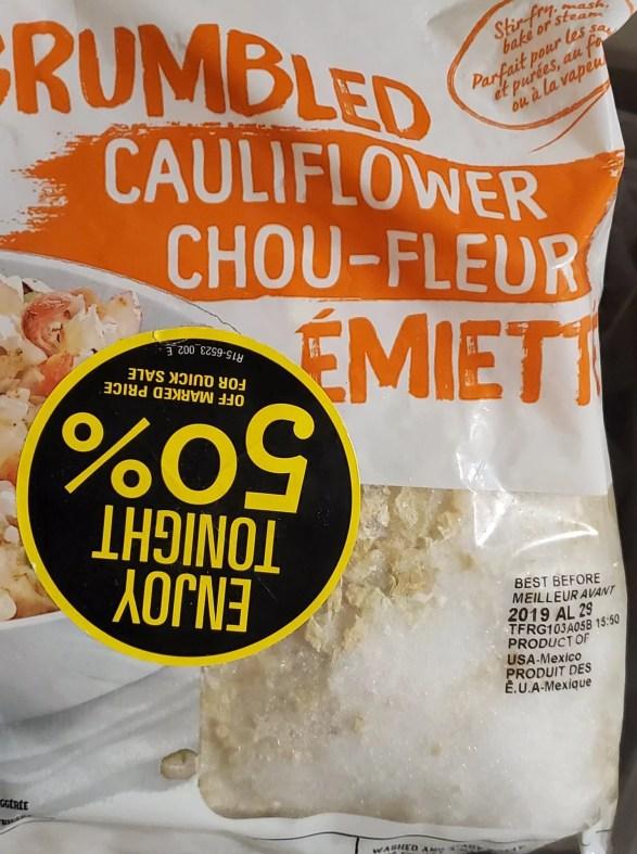 crumbled cauliflower