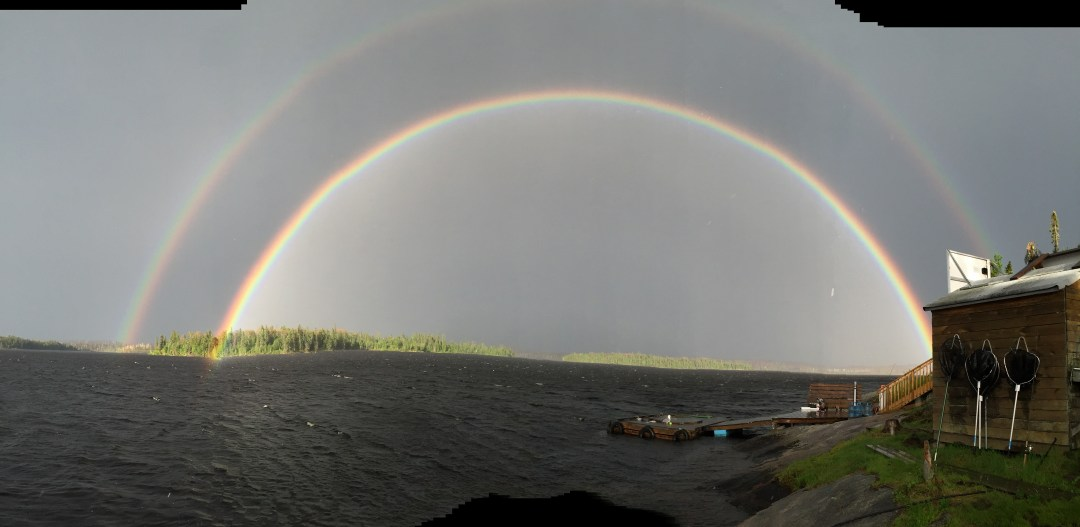 Double rainbow at Murdock lake fly in outpost
