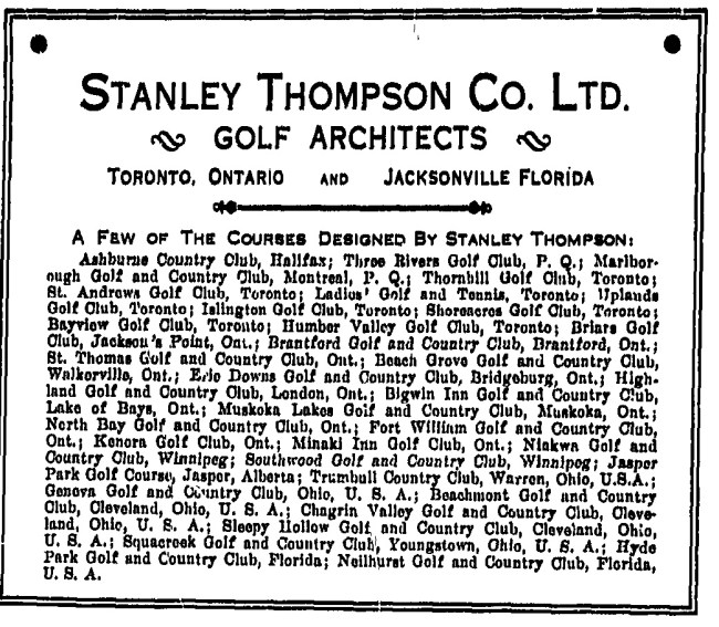 Stanley Thompson Ad From Canadian Golfer: Hyde Park Referenced At the End of the List