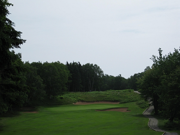 The 17th with trees removed behind the green.