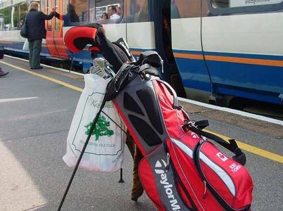 Taking the train in England: My bag at the Sunningdale stop