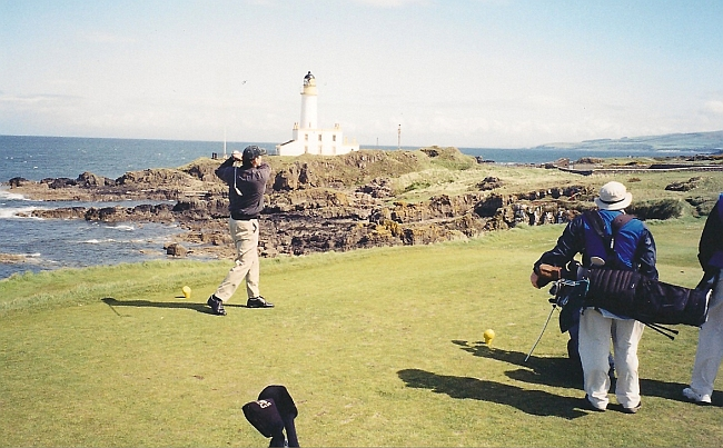 Teeing of in the footsteps of greatness: My brother, Chris, hits his tee shot on the ninth hole at Turnberry in 2003.