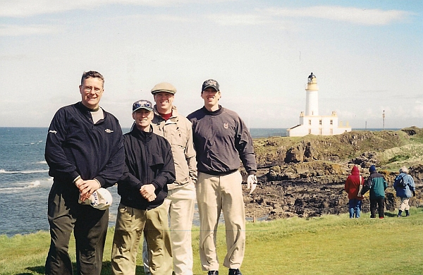 Good times, great golf: Two pairs of brothers enjoy a glorious day at Turnberry in 2003.